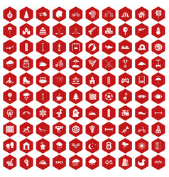 100 kids games icons hexagon red vector