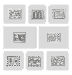 Icons with mexican relics dingbats characters vector