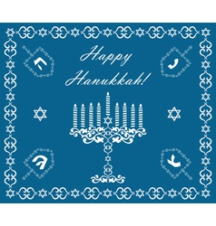 Chanukah holiday background with dreidels vector image