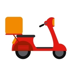 Red motorcycle scooter delivery food vector