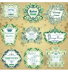 Set of green and blue calligraphic design frames vector