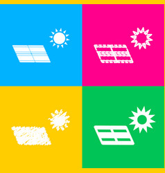 Solar energy panel eco trend concept sign four vector