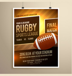 rugby sports flyer design template vector image