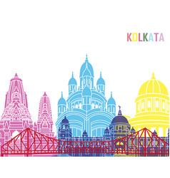 Kolkata skyline pop vector