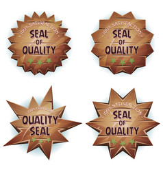 Cartoon wooden seal of quality vector