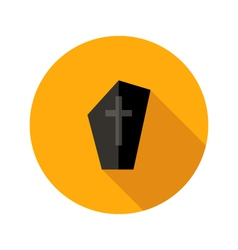 Dark tombstone with cross flat icon vector