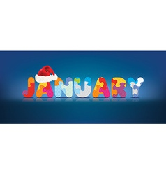 January written with alphabet puzzle with vector