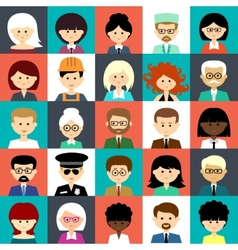 Set of flat icons with people vector