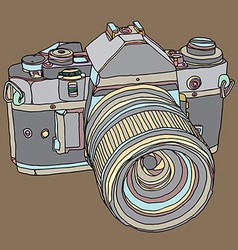 Old dslr camera vector