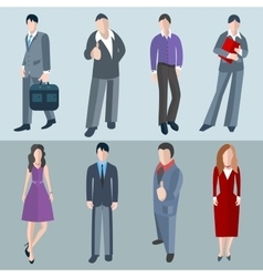 Set isolated office men and women workers vector