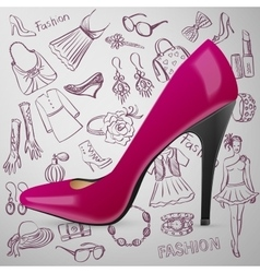 Modern womens shoes and hand draw Fashion icon vector image