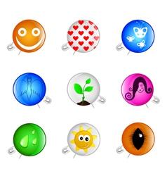 happy pins badges vector image