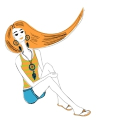 Young red-haired girl in boho style for t-shirts vector