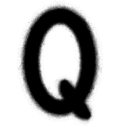 Sprayed q font graffiti in black over white vector