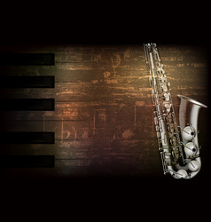 Abstract grunge piano background with saxophone vector