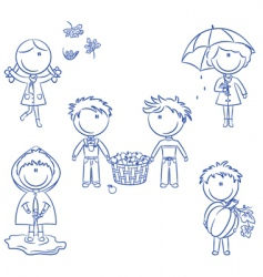 autumn cute kids vector image vector image