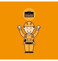 Avatar man construction worker toolbox icon vector