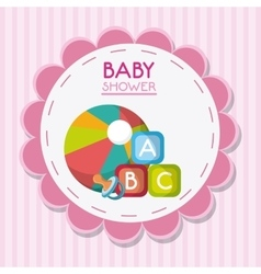 Baby pacifier ball and toy inside flower seal vector image vector image