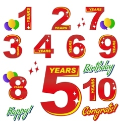birthday - numbers and elements vector image vector image