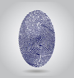 Blue isolated fingerprint on grey vector