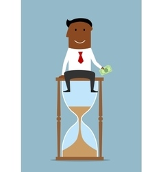 Businessman sitting with money on hourglass vector