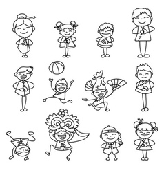 Cartoon character chinese people and kids vector