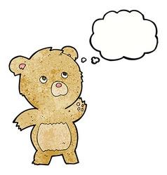 Cartoon curious teddy bear with thought bubble vector