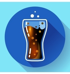 Cola splash or soda glass with bubbles icon flat vector image vector image