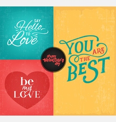 Colorful valentines day typography design elements vector