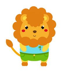 Cute lion cartoon kawaii animal character in vector
