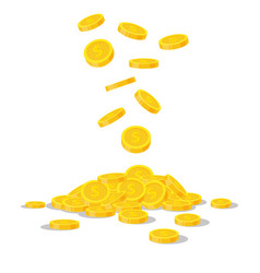 falling gold coins isolated on white background vector image