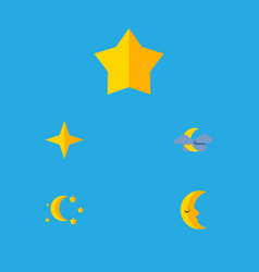 flat icon midnight set of moon starlet bedtime vector image vector image