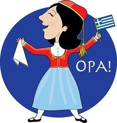 Greek Lady Dancing vector image vector image
