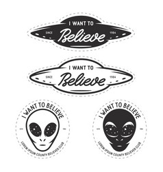 i want to believe patches set vintage vector image vector image