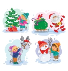 Icons small children decorate the christmas tree vector