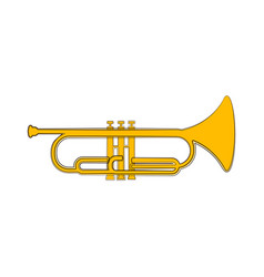 Isolated cornet sketch musical instrument vector