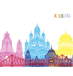 kolkata skyline pop vector image