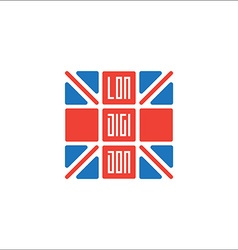 Lon-Digi-Don T-shirt with UK flag and inscription vector image