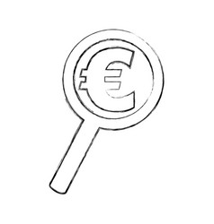 Magnifying glass with euro symbol vector