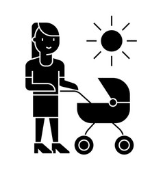 mother with baby stroller icon vector image vector image