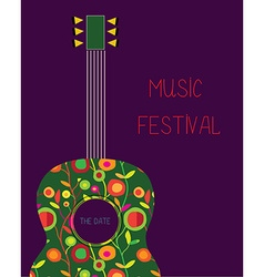 Music festival poster with guitar vector