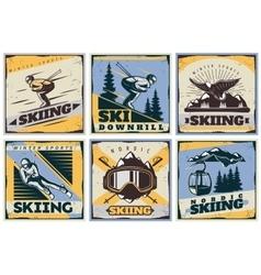 Nordic skiing posters set vector
