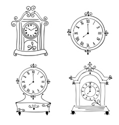Old vintage clock hand drawn vector image