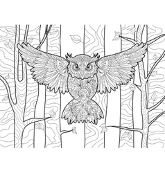 Owl in the forest coloring book for adults vector image vector image