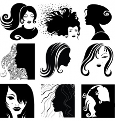 portrait silhouettes vector image vector image