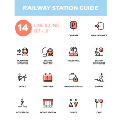 railway station guide - modern simple icons vector image vector image