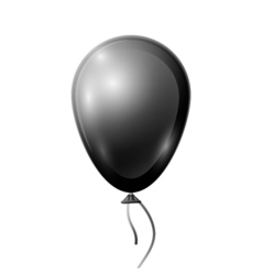 Realistic black balloon with ribbon isolated on vector