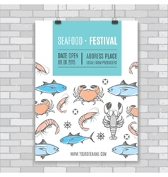Seafood poster vector image vector image
