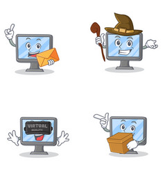Set of monitor character with witch envelope box vector