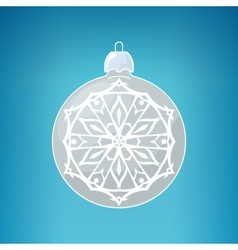 Silver Ball with Snowflake Merry Christmas vector image